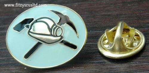 Miner MIneworker Lapel Hat Tie Cap Pin Badge Mine Worker Hammer Pick Hat Brooch